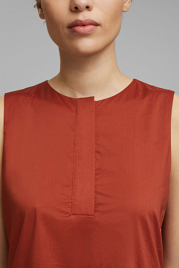Sleeveless flounce midi dress made of cotton, TERRACOTTA, detail image number 3