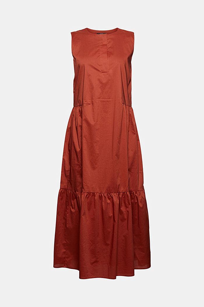 Bawełniana sukienka midi bez rękawów z falbanami