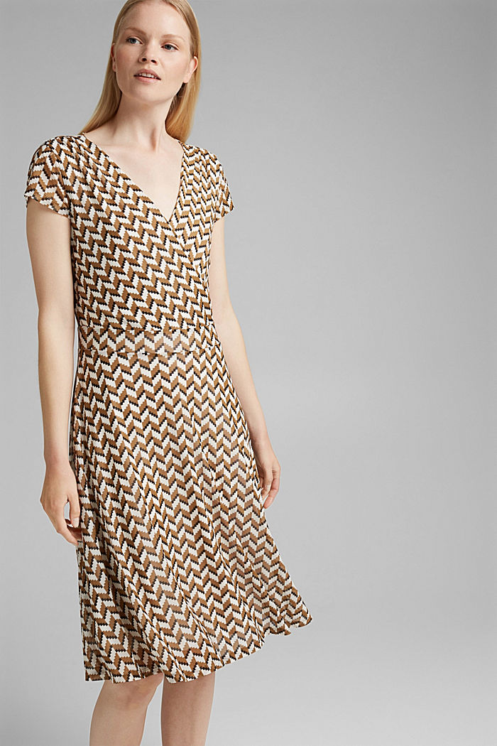 Wrap-over mesh dress with a print, BLACK, detail image number 0