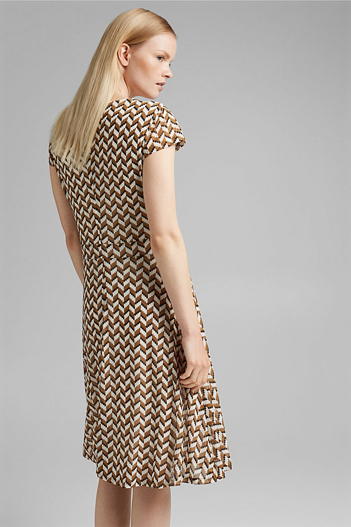 Wrap-over mesh dress with a print, BLACK, detail image number 2