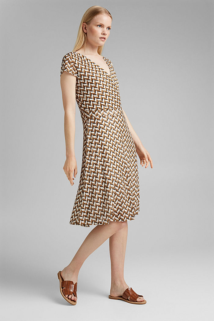 Wrap-over mesh dress with a print, BLACK, detail image number 1