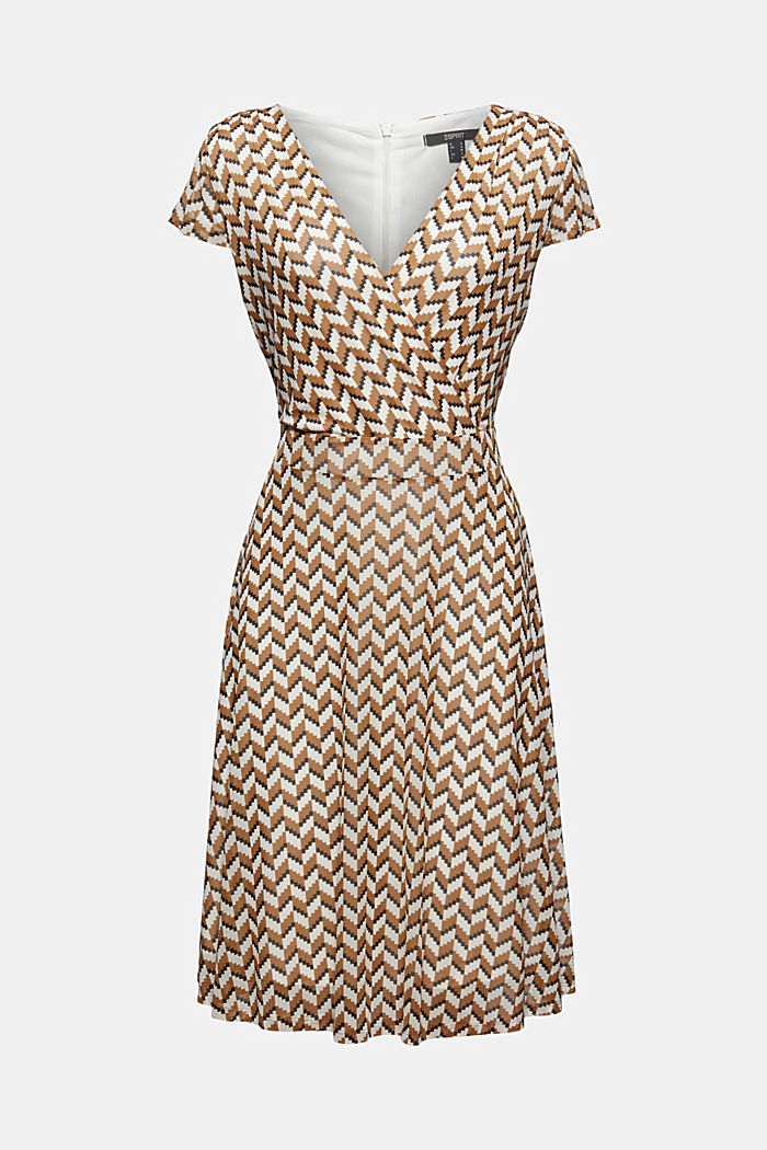 Wrap-over mesh dress with a print, BLACK, detail image number 6