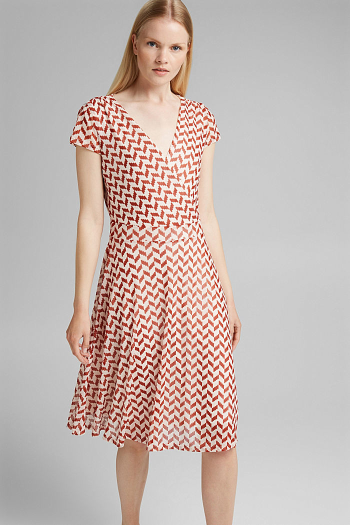Wrap-over mesh dress with a print, TERRACOTTA, detail image number 0