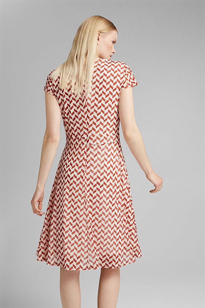 Wrap-over mesh dress with a print, TERRACOTTA, detail image number 2