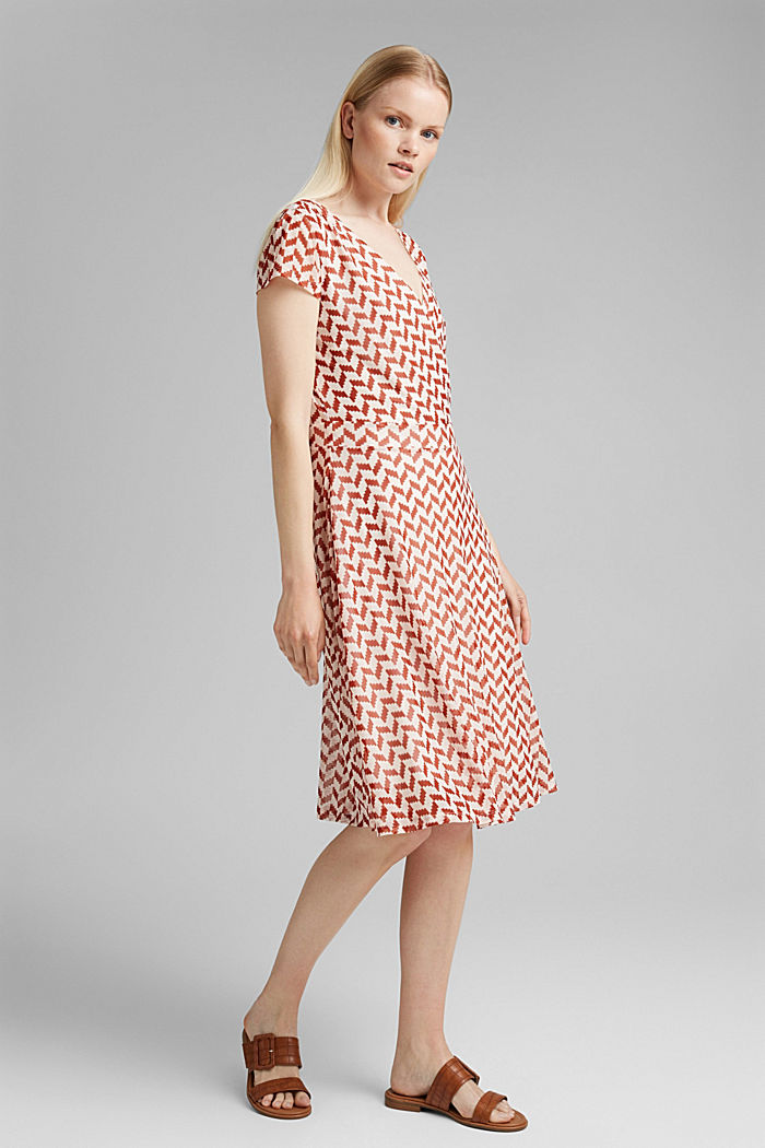 Wrap-over mesh dress with a print, TERRACOTTA, detail image number 1