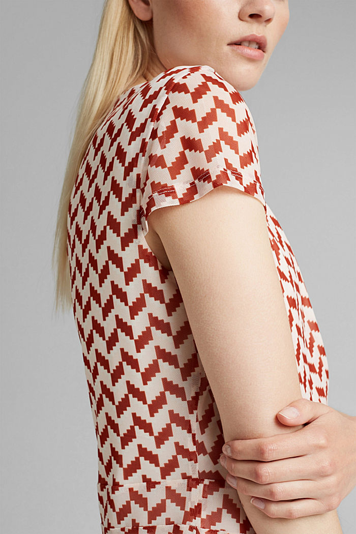 Wrap-over mesh dress with a print, TERRACOTTA, detail image number 3