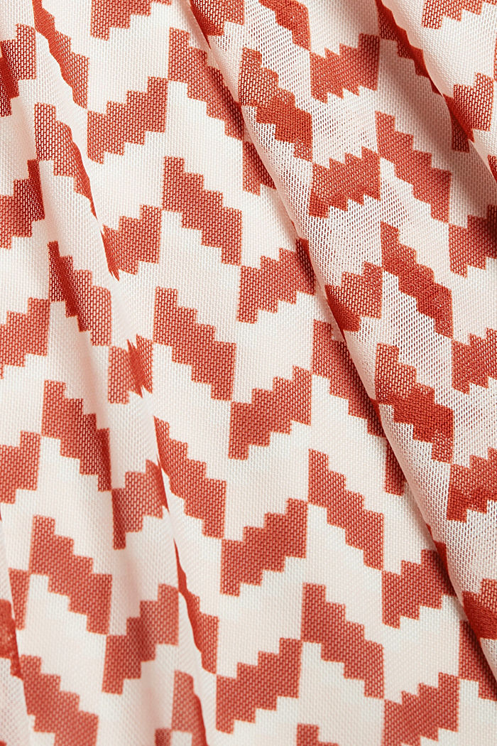 Wrap-over mesh dress with a print, TERRACOTTA, detail image number 4