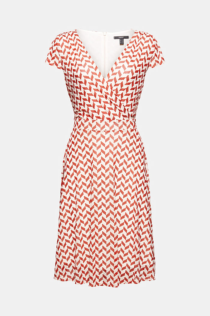 Wrap-over mesh dress with a print, TERRACOTTA, detail image number 6