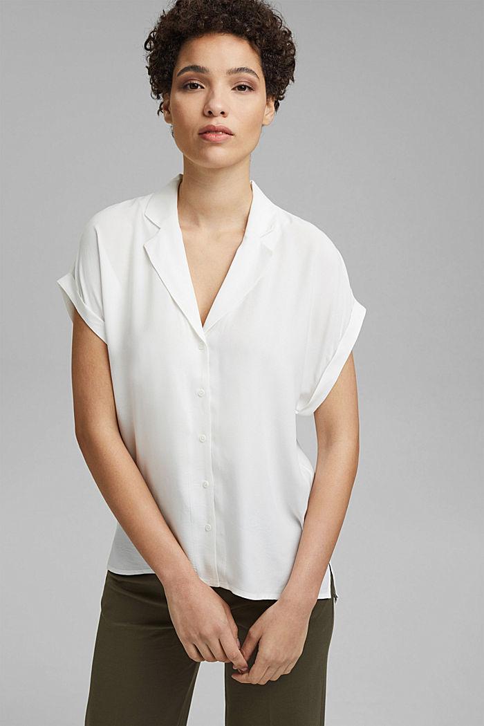 Pyjamakauluksellinen puserotoppi, LENZING™ ECOVEROA™, OFF WHITE, detail image number 0