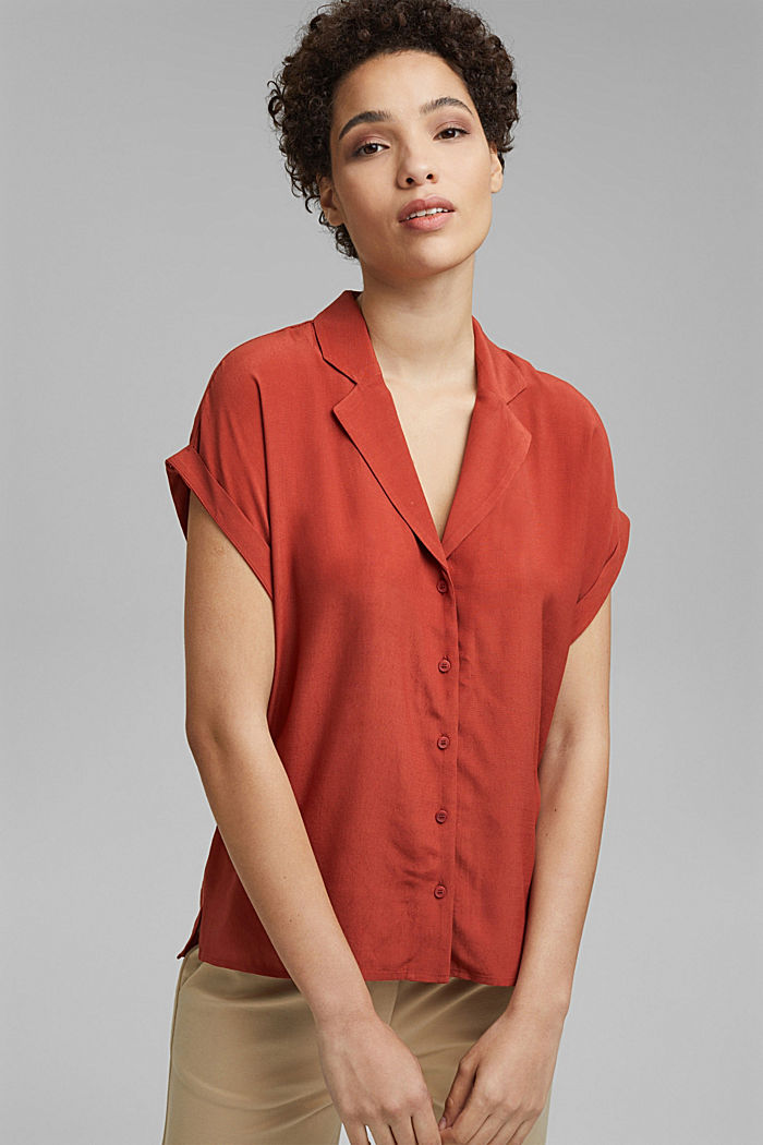 Blouse top with a pyjama-style collar, LENZING™ ECOVERO™, TERRACOTTA, detail image number 0