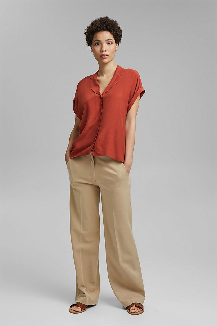 Blouse top with a pyjama-style collar, LENZING™ ECOVERO™, TERRACOTTA, detail image number 1