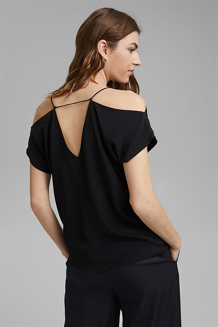 Blouse with a Carmen neckline, BLACK, detail image number 3