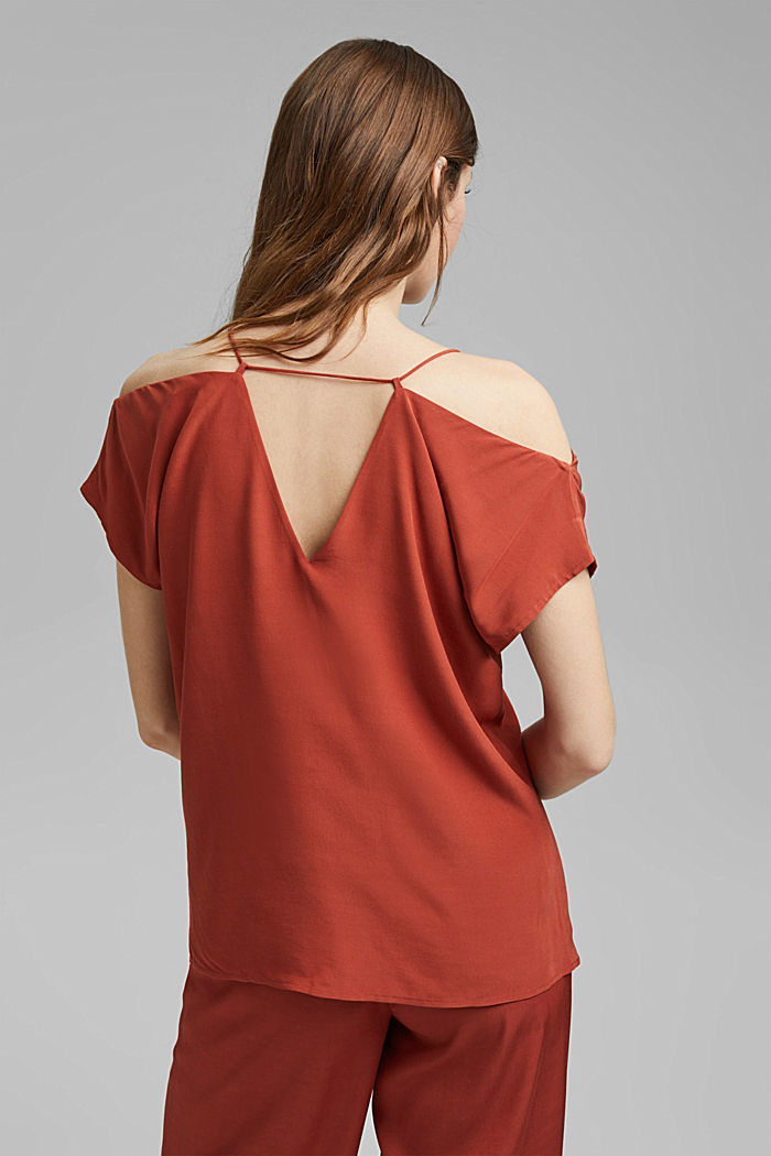 Blouse with a Carmen neckline, TERRACOTTA, detail image number 3