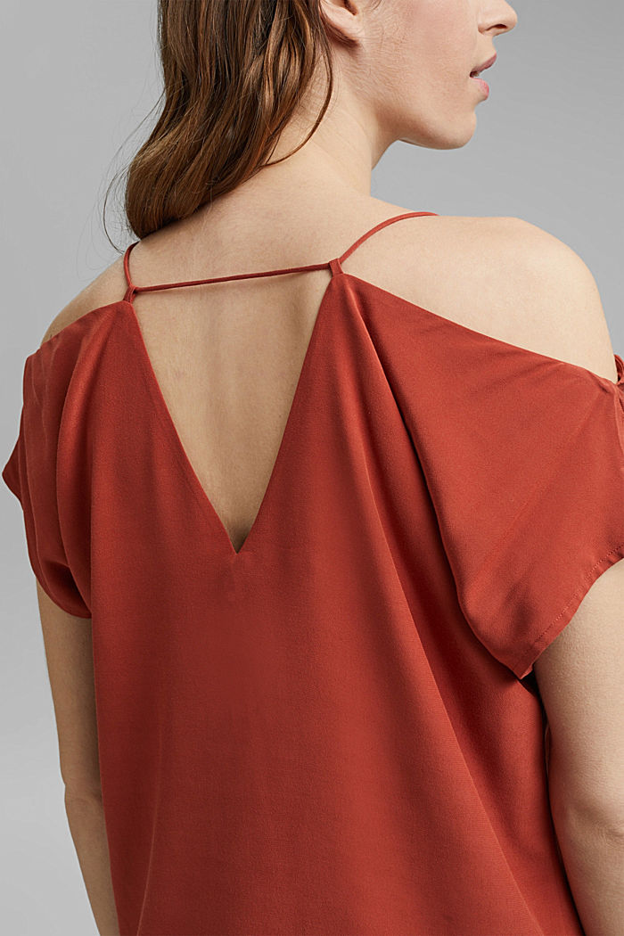 Blouse with a Carmen neckline, TERRACOTTA, detail image number 2