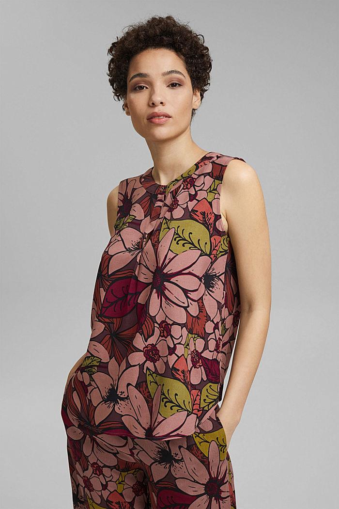 Top façon blouse à imprimé à fleurs, LENZING™ ECOVERO™, TERRACOTTA, detail image number 0