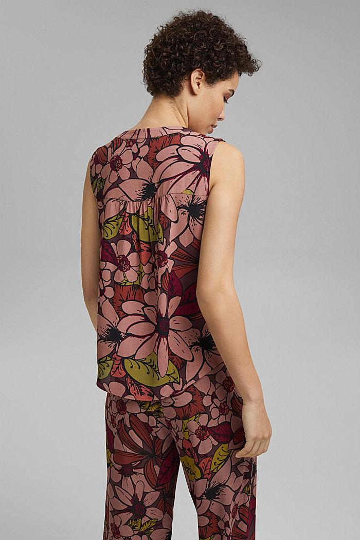 Top façon blouse à imprimé à fleurs, LENZING™ ECOVERO™, TERRACOTTA, detail image number 3