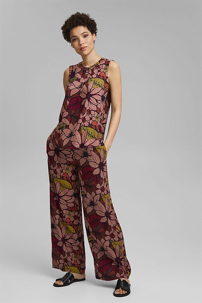 Top façon blouse à imprimé à fleurs, LENZING™ ECOVERO™, TERRACOTTA, detail image number 1
