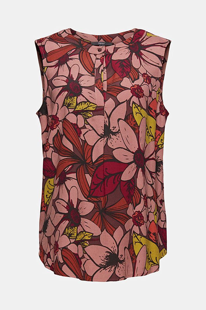 Top façon blouse à imprimé à fleurs, LENZING™ ECOVERO™, TERRACOTTA, detail image number 6