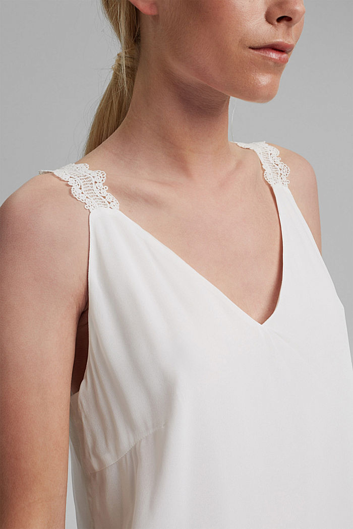 Blouse top with lace straps, OFF WHITE, detail image number 2