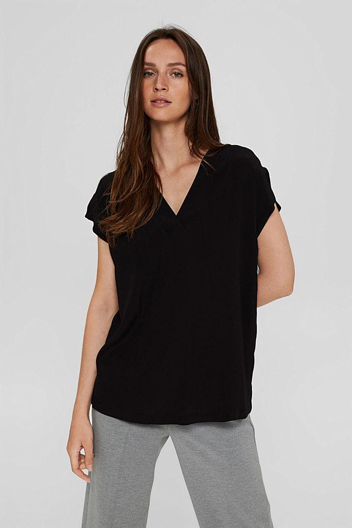 Crêpe blousetop met LENZING™ ECOVERO™, BLACK, detail image number 0