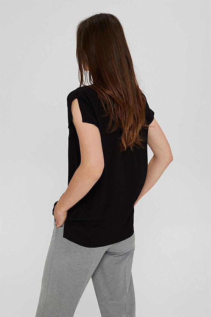 Crêpe blousetop met LENZING™ ECOVERO™, BLACK, detail image number 3