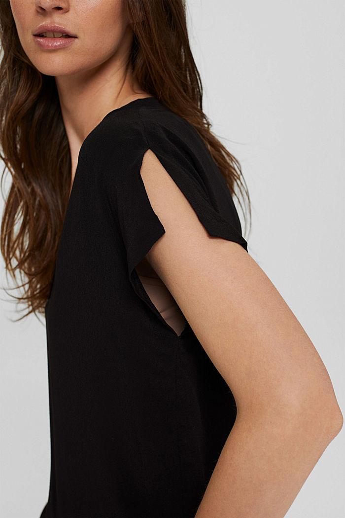 Crêpe blousetop met LENZING™ ECOVERO™, BLACK, detail image number 2