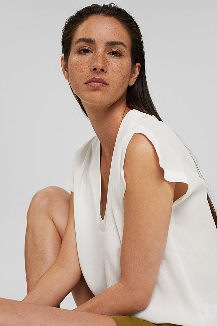 Crêpe blouse top with LENZING™ ECOVERO™, OFF WHITE, detail image number 5