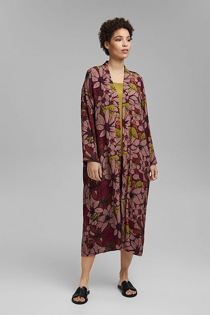 Kimono mit Blumenprint, LENZING™ ECOVERO™, TERRACOTTA, detail image number 0