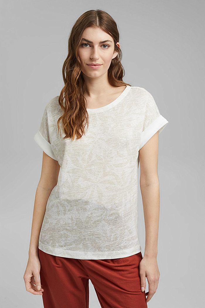 Aus 100% Leinen: T-Shirt mit Blätter-Print, OFF WHITE, detail image number 0