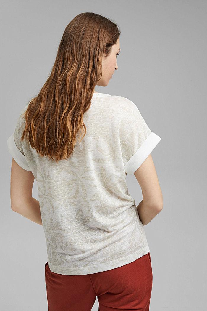 Aus 100% Leinen: T-Shirt mit Blätter-Print, OFF WHITE, detail image number 3