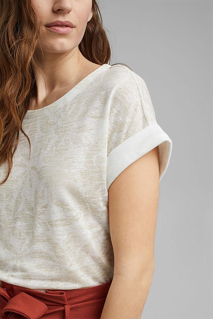 Aus 100% Leinen: T-Shirt mit Blätter-Print, OFF WHITE, detail image number 2
