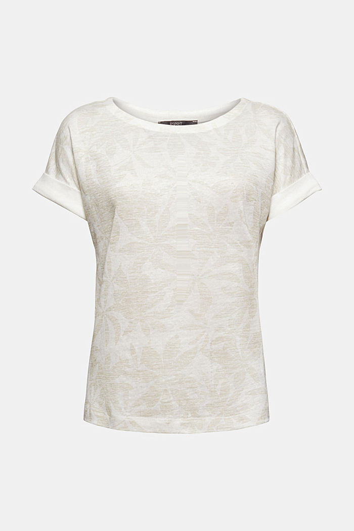 Aus 100% Leinen: T-Shirt mit Blätter-Print, OFF WHITE, detail image number 5