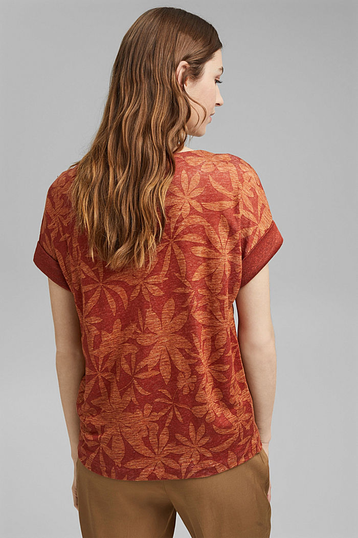 Made of 100% linen: T-shirt with a leaf print, TERRACOTTA, detail image number 3