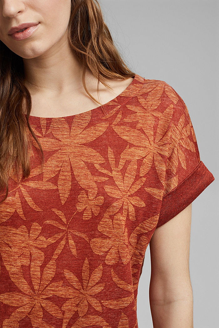 Made of 100% linen: T-shirt with a leaf print, TERRACOTTA, detail image number 2