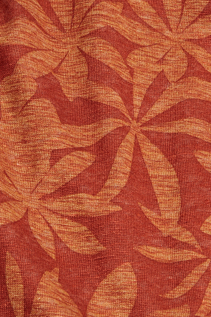 Made of 100% linen: T-shirt with a leaf print, TERRACOTTA, detail image number 4