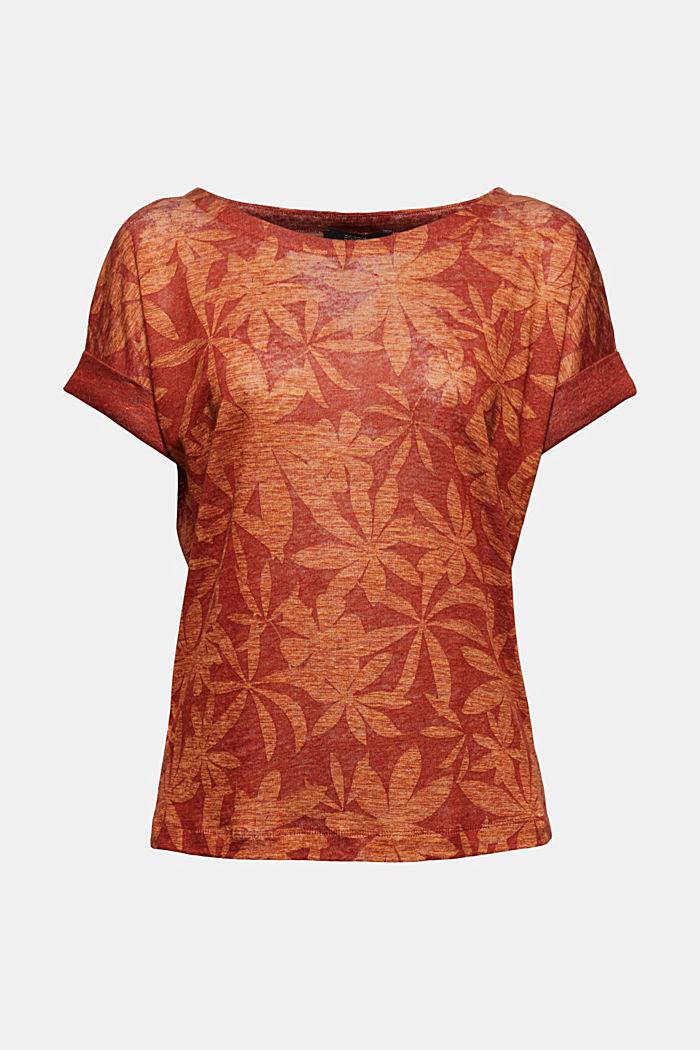 Aus 100% Leinen: T-Shirt mit Blätter-Print