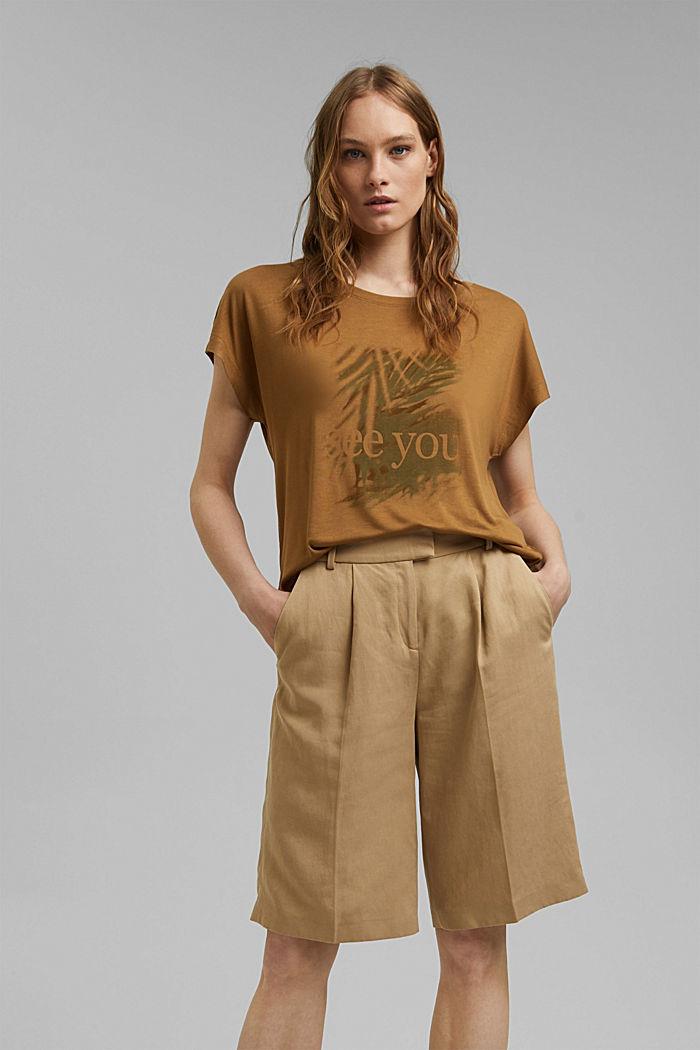 T-shirt met print, van LENZING™ ECOVERO™, BARK, detail image number 0