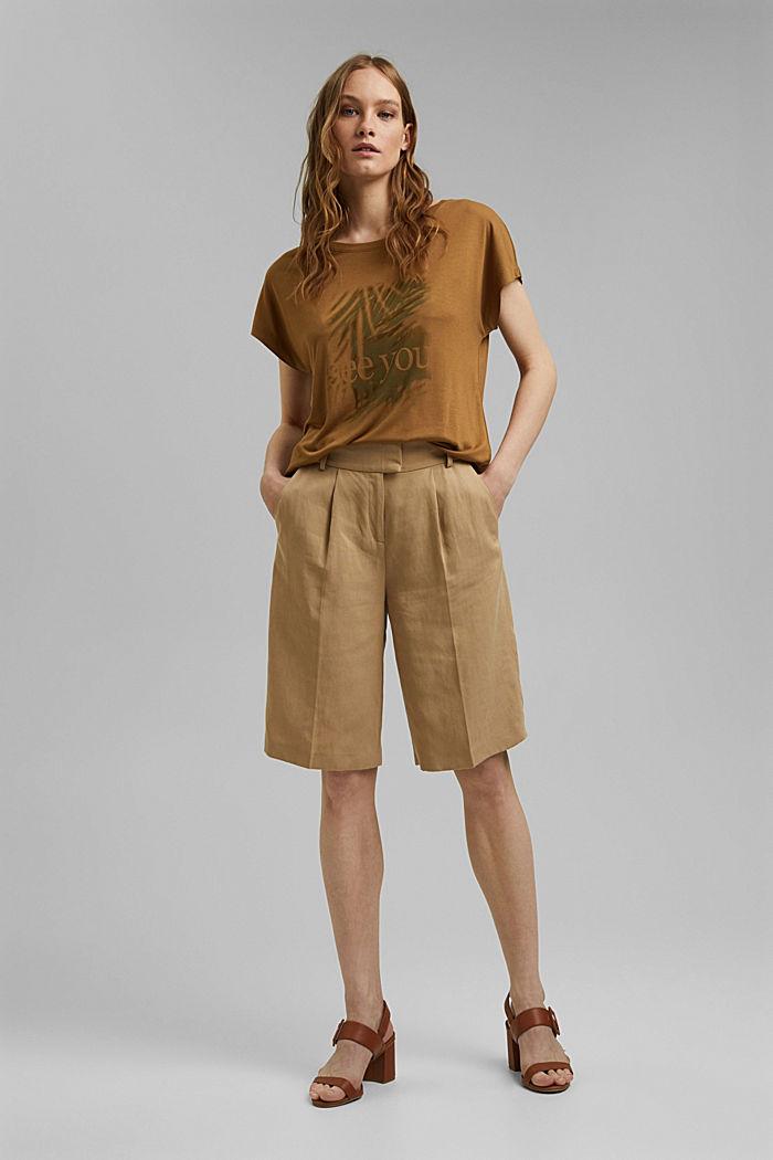 T-shirt met print, van LENZING™ ECOVERO™, BARK, detail image number 1