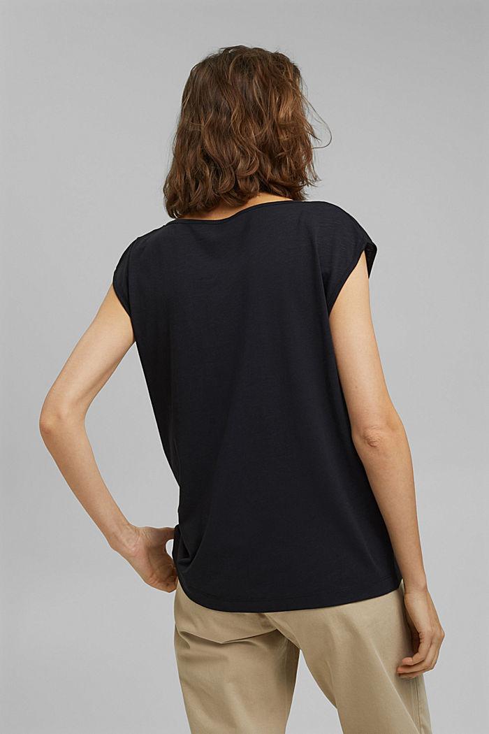 Organic cotton/TENCEL™: printed T-shirt, BLACK, detail image number 3