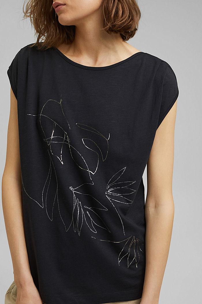 Organic cotton/TENCEL™: printed T-shirt, BLACK, detail image number 2