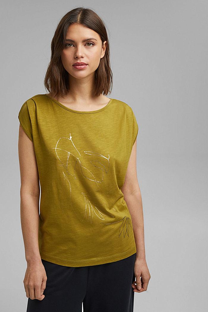 Organic cotton/TENCEL™: printed T-shirt, OLIVE, detail image number 0