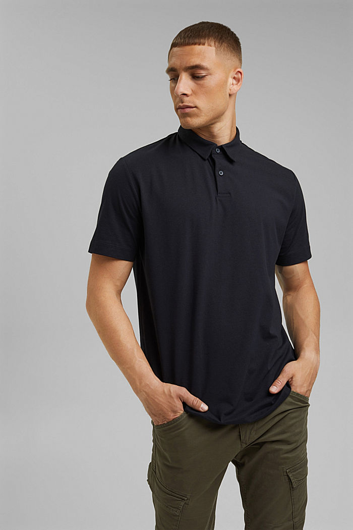 Jersey-Poloshirt mit COOLMAX®, BLACK, detail image number 0