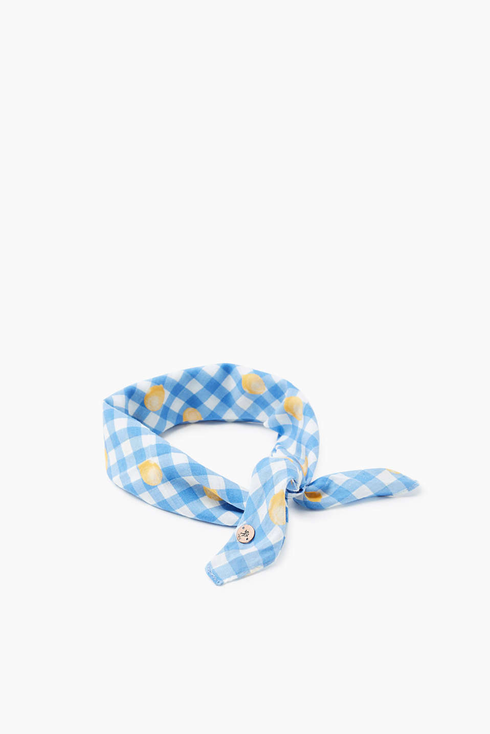 Gingham check bandana made of delicate viscose fabric with a motif print