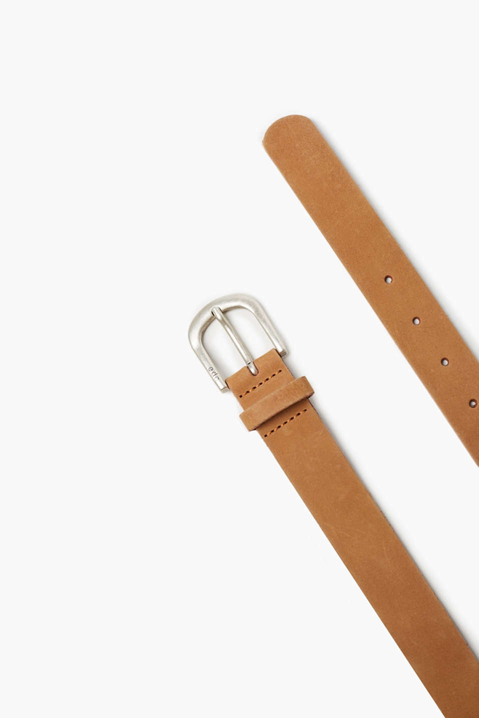 Belt in high-quality buffalo leather with a polished metal buckle