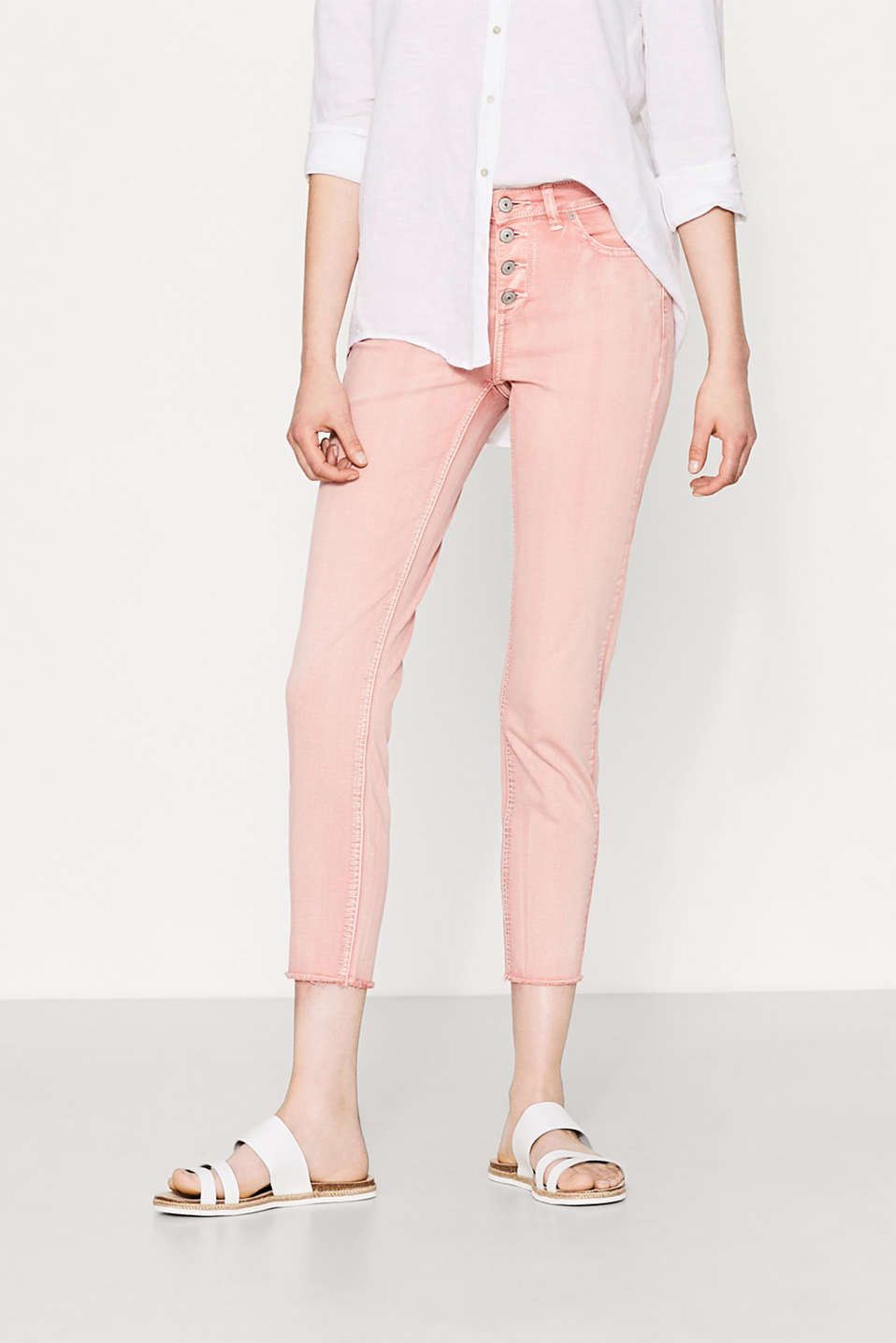 Garment-washed stretch trousers