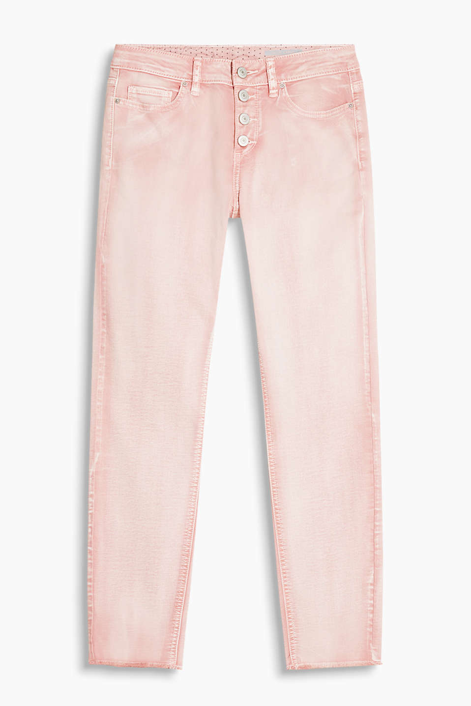 Cropped trousers in stretch cotton with a visible button placket and a cool, trendy dye