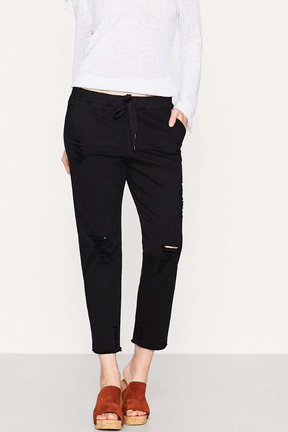 Destroyed joggingbroek met stretch