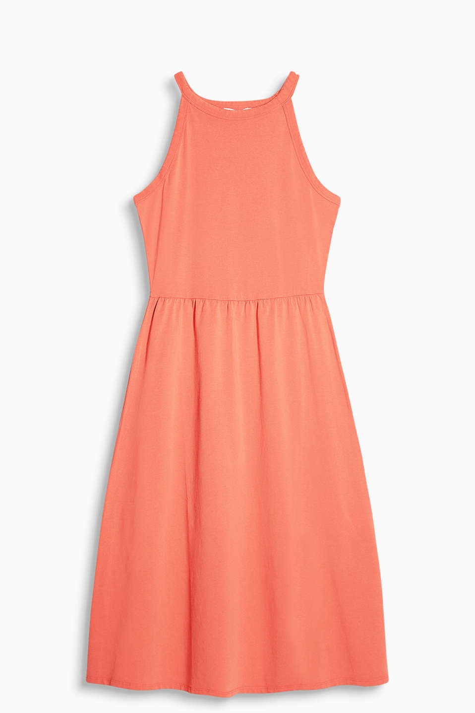 Flared A-line midi dress in jersey with cut-away shoulders and added stretch for comfort