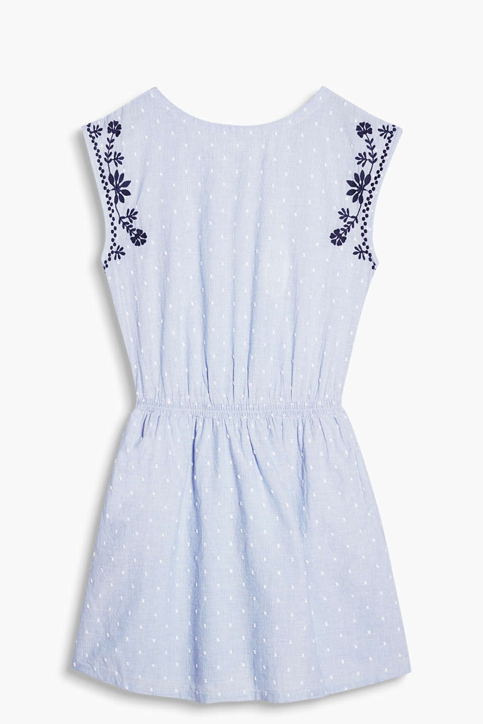 Floaty cotton dress with a beautiful back neckline and embroidery