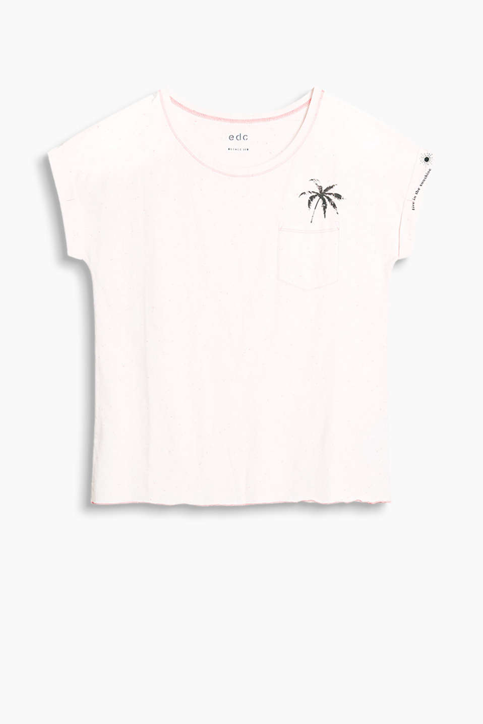 Relaxed T-shirt made from lightweight jersey in a dimpled texture and with a positioned palm tree slogan print.